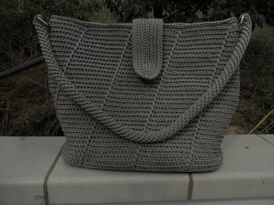 Borsa donna in cordino Swan all'uncinetto color grigio perla