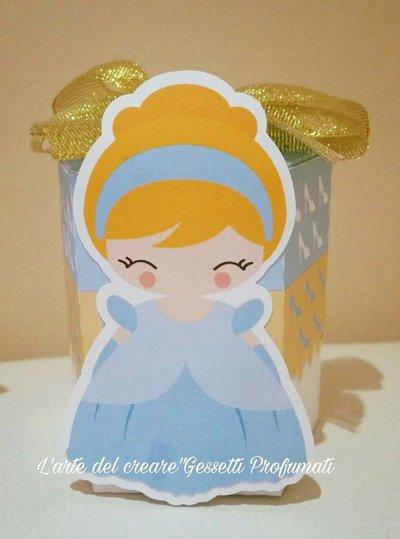 Scatola bomboniera (0,80pz) sacchetto porta-confetti CENERENTOLA principessa BIMBA