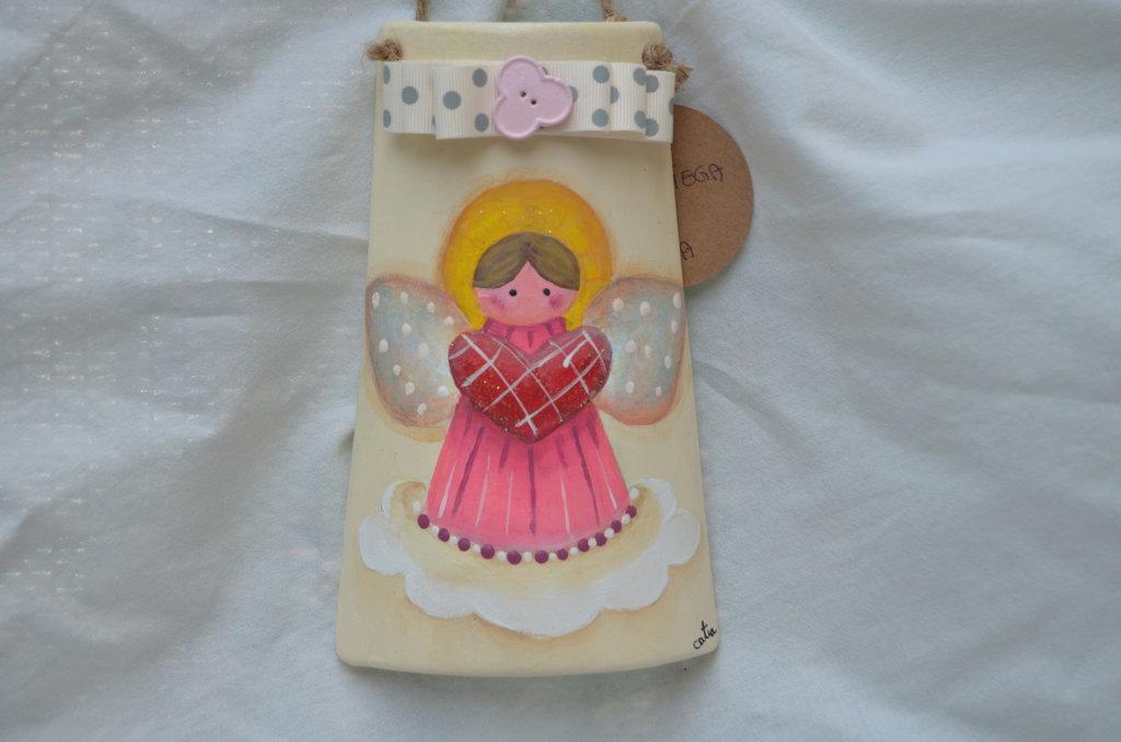 Tegola dipinta a mano con angelo pittura country
