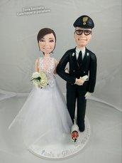 Cake topper personalozzato sposo in alta uniforme