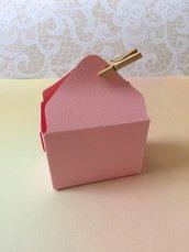 Porta confetti nascita battesimo bimba rosa con mollettina