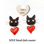 Orecchini a bottone in Fimo della serie - Cat my Love