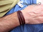 Bracciale in pelle da uomo multi giro,regalo per lui,braccialetto uomo,bracciale pelle,per lui,avvolgente