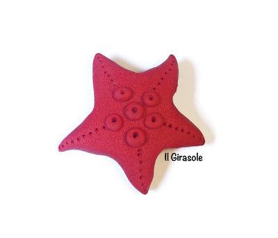 Calamita stella marina rossa in pasta polimerica fimo