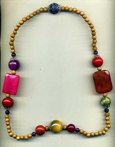 Collana in legno e mix di pietre dure multicolor
