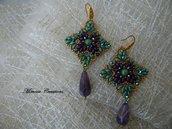 Orecchini pendenti realizzati a mano bicono swarovski