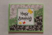 Biglietto Auguri Compleanno - Farfalle e Fiori
