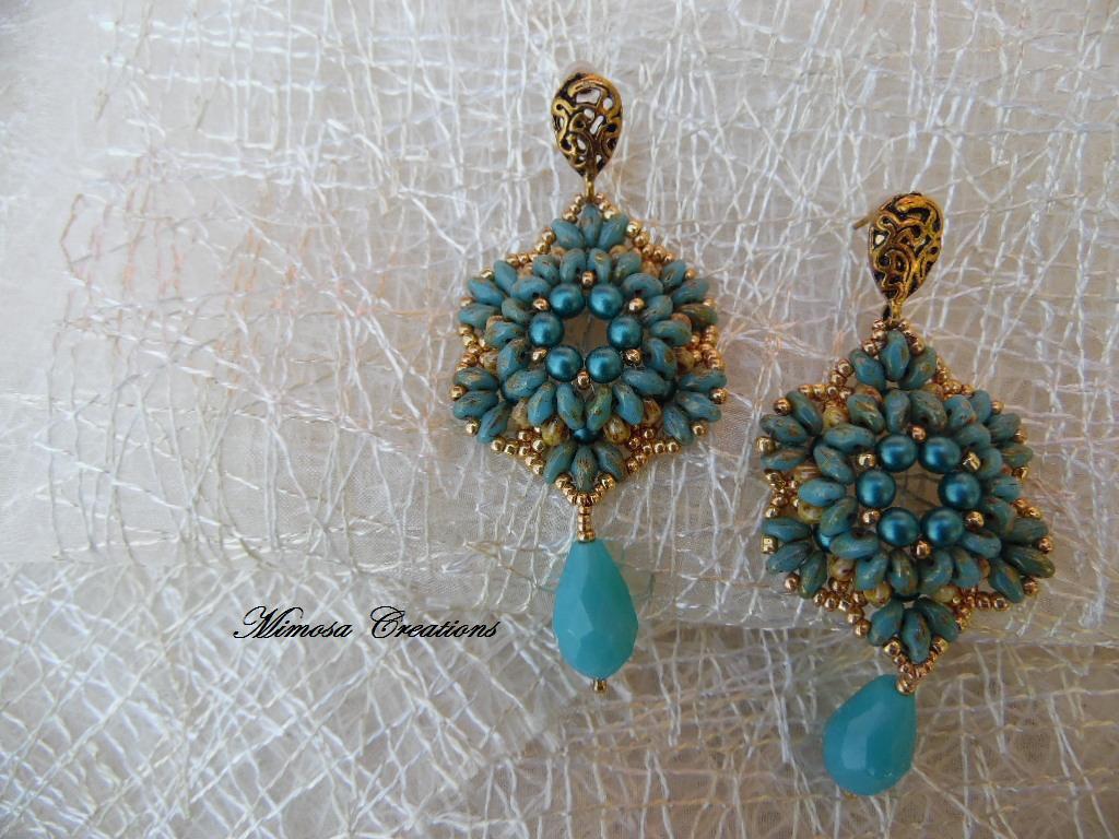 orecchini perline pendenti fatti a mano superduo perle di boemia