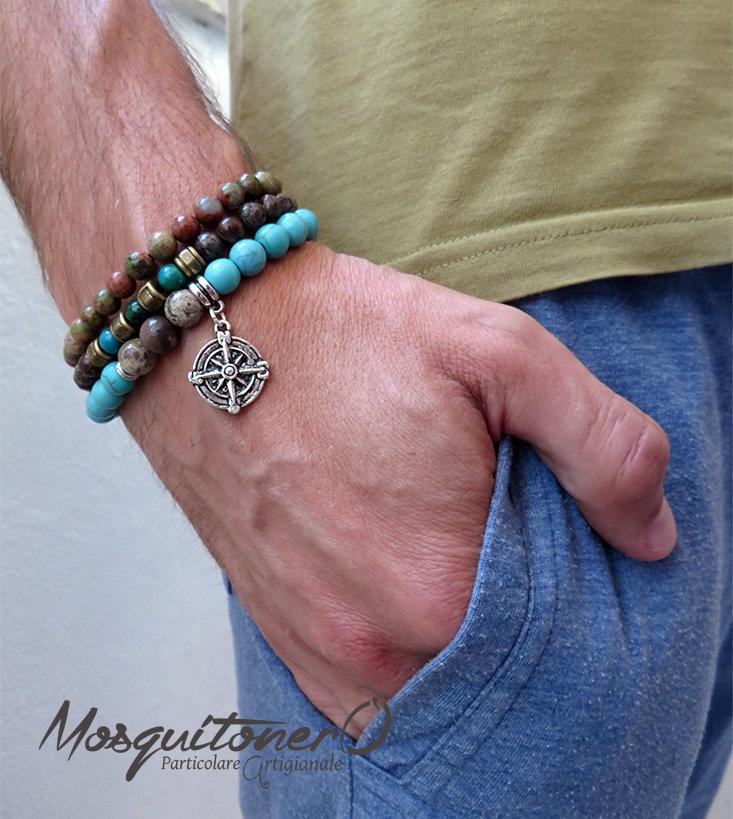 Bracciale da uomo,stone bracelet,bracciale per lui in pietra perle da 8 e 6mm Unakite