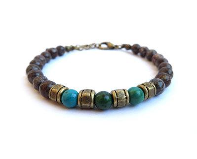 Bracciale da uomo,stone bracelet,bracciale per lui in pietra perle da 8 e 6mm Ossidiana Fiocco di neve e Crisocolla
