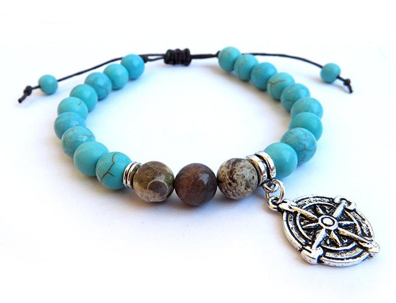 Bracciale da uomo nautico bracciale per lui in pietra e bussola perle da 8 e 6mm pietra oceanica e turchesite