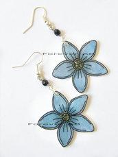 Orecchini ciondolo Genziana in shrink fiore blu fiori estate ragazza donna