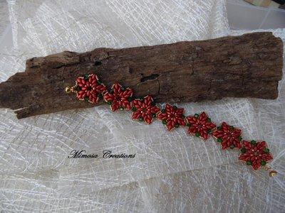 Braccialetto perline fatto a mano con bicono Swarovski rosso