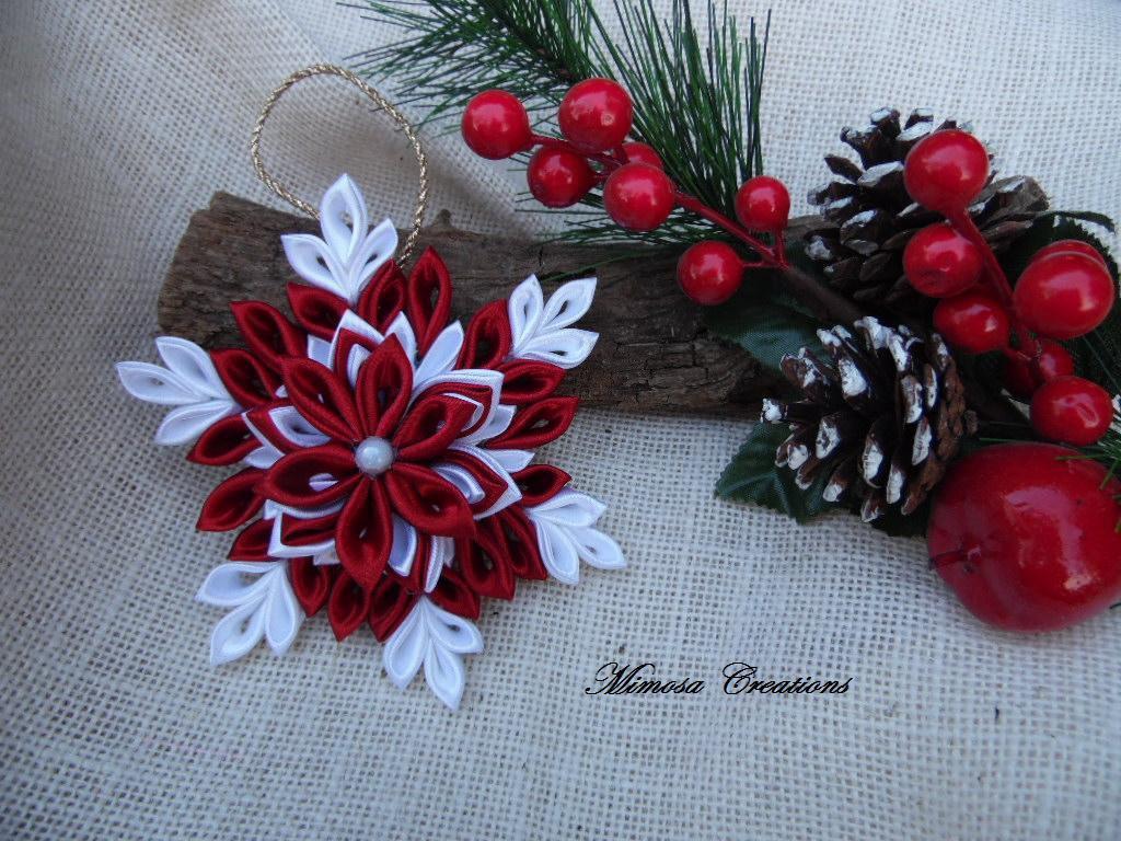 Decorazioni natalizie in raso kanzashi fiocco feste for Decorazioni da tavolo natalizie