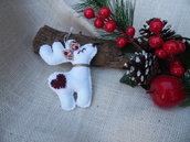 Decorazioni Natalizie in feltro renna bianca naso rosso