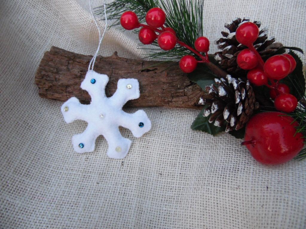 Decorazioni natalizie in feltro fiocco di neve feste - Decorazioni natalizie in feltro ...
