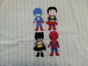 4 SUPEREROI feltro pannolenci per decorazione