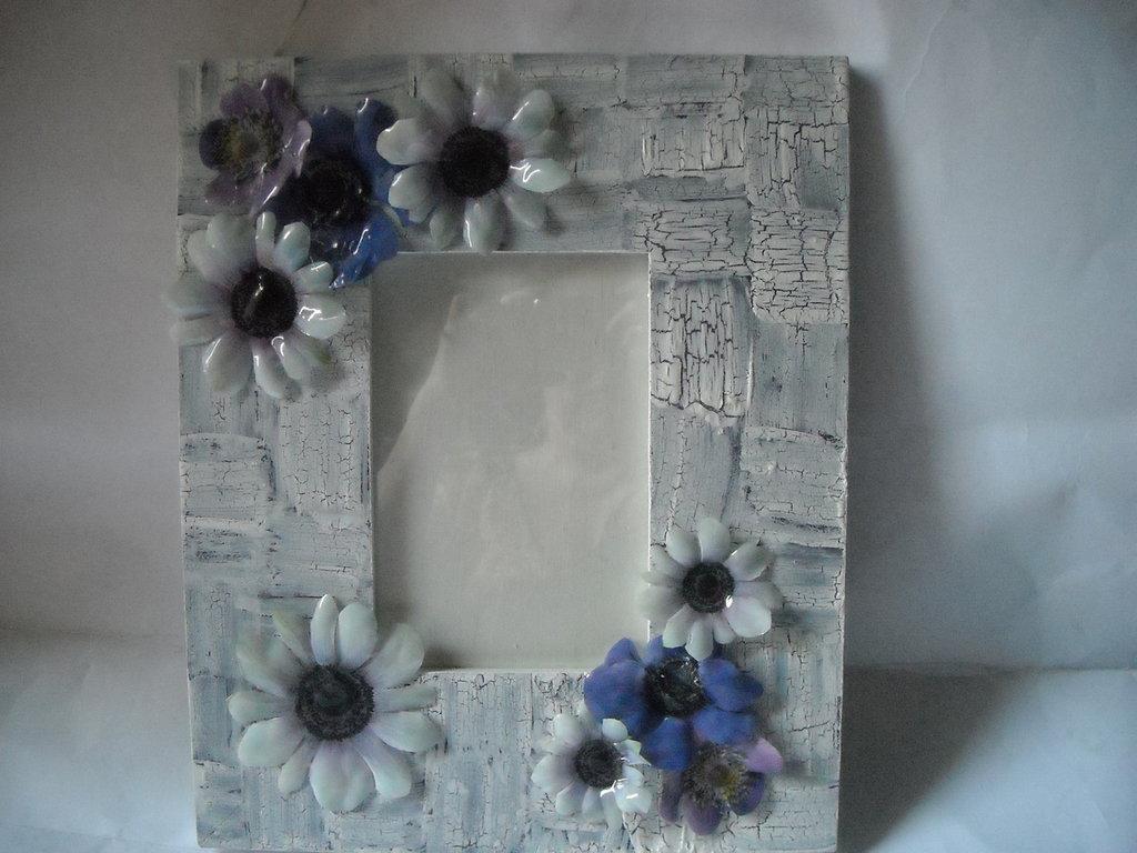 Cornice portafoto,portafotografie, porta ritratto con anemoni in 3d