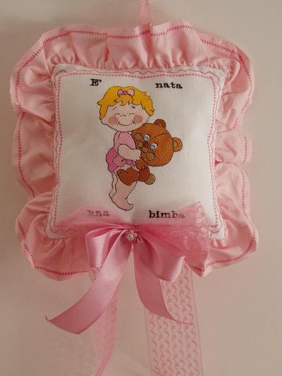 Fiocco, cuscinetto annuncio nascita, per bimba