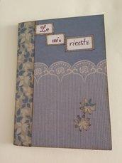 Ricettario quaderno ricette fatto a mano azzurro