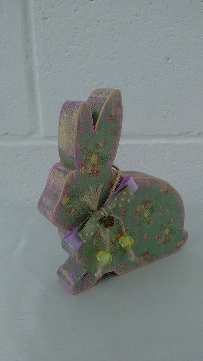 Coniglietto di legno, decorazione Pasquale