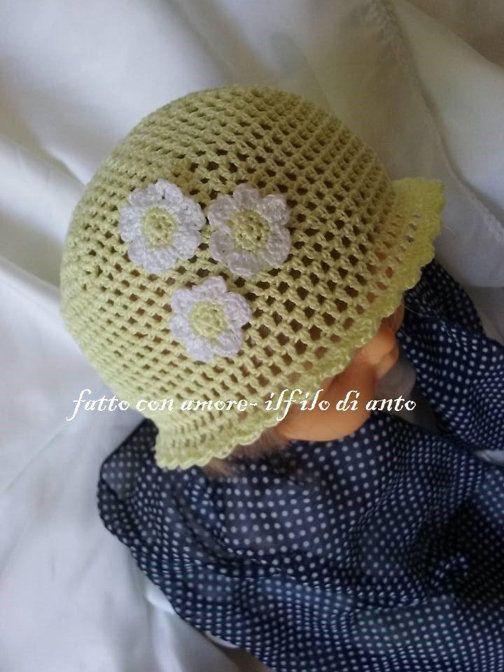 Cappello bambina in puro cotone con fiori