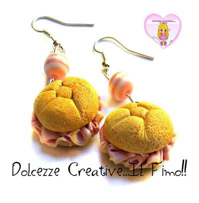 Orecchini Rosette - Panino al prosciutto cotto - miniature - idea regalo kawaii handmade