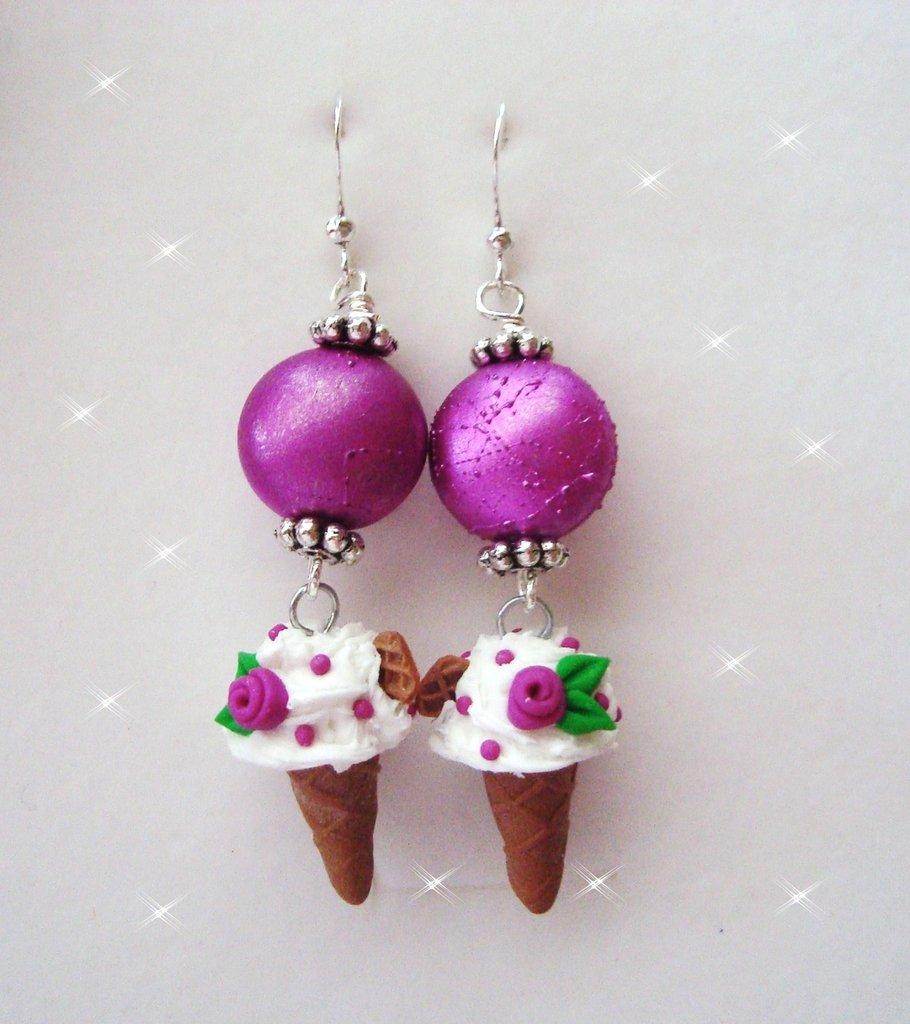 orecchini gelato fimo