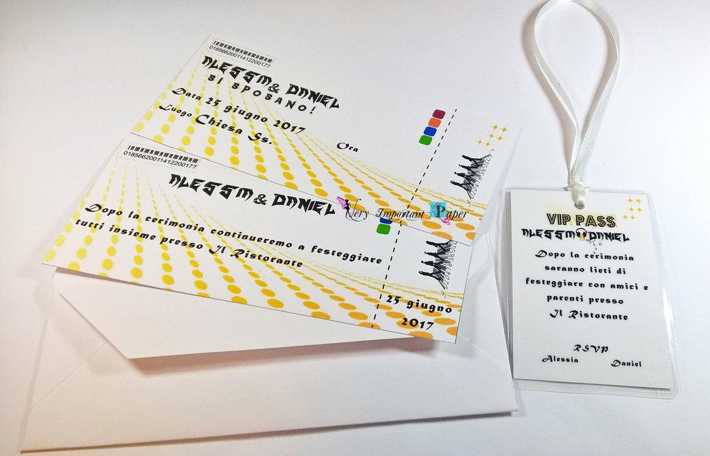 Partecipazione nozze - tema musica - biglietto del concerto