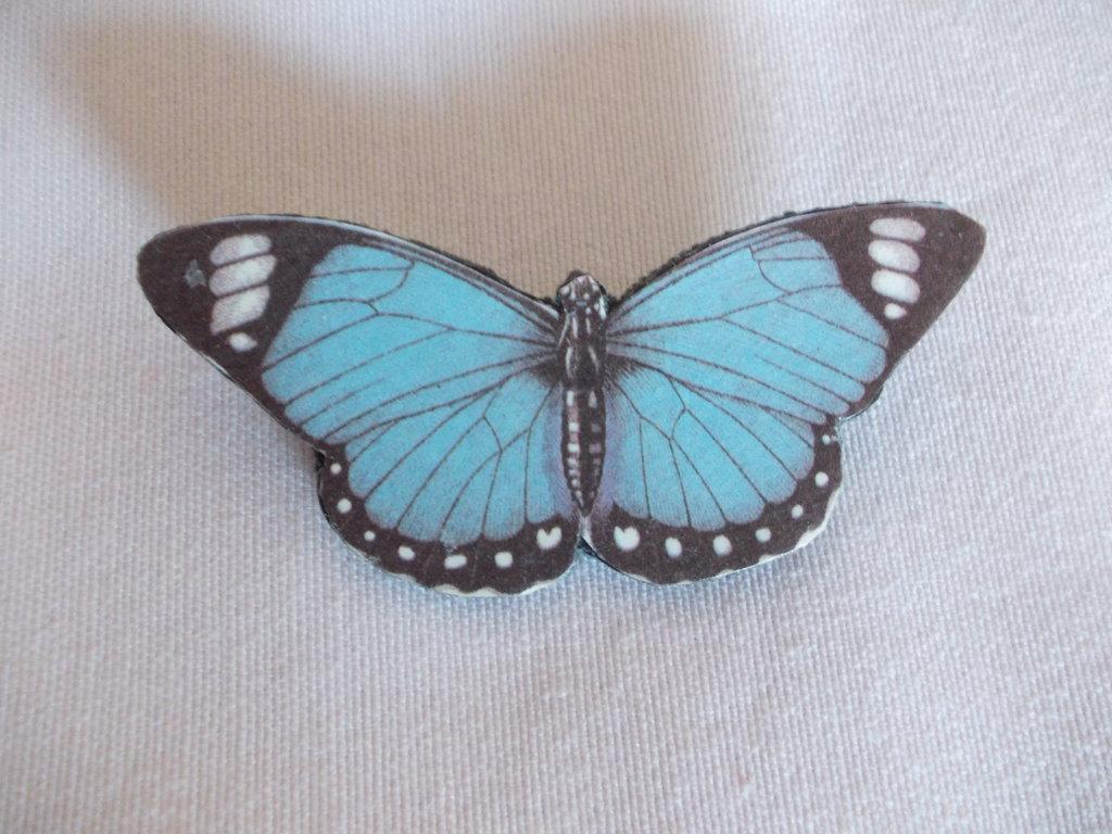 Spilla a forma di farfalla azzurra