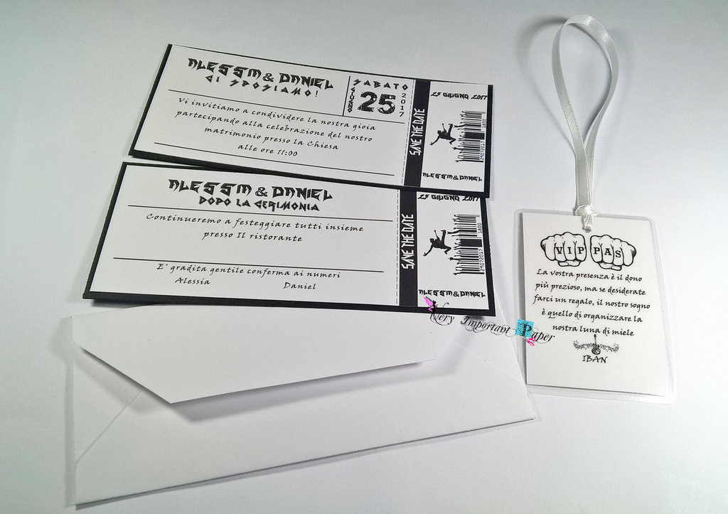 Partecipazioni Matrimonio Rock.Partecipazione Nozze Tema Musica Biglietto Del Concerto E Wedding Pass