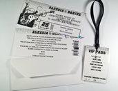 Partecipazione di nozze tema musica - Biglietto del concerto e Wedding Pass