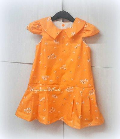 Vestito estivo bimba arancione con colletto e maniche corte