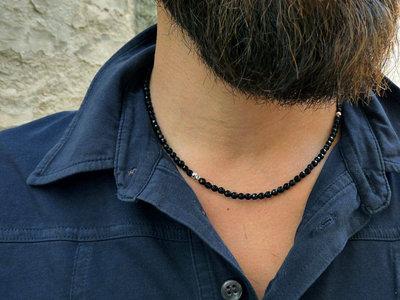 Collana uomo Onice Nero e Argento puro. Collana unisex in pietra, idea regalo per la coppia