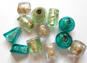 Lotto mix 12 perle in vetro toni del verde