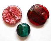 Lotto 3 perle a lume in vetro stile Murano