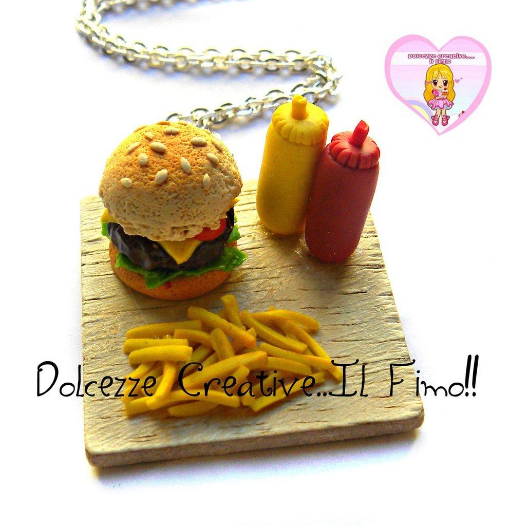 Collana Vassoio hamburger, patatine fritte,  ketchup e maionese - miniature - handmade