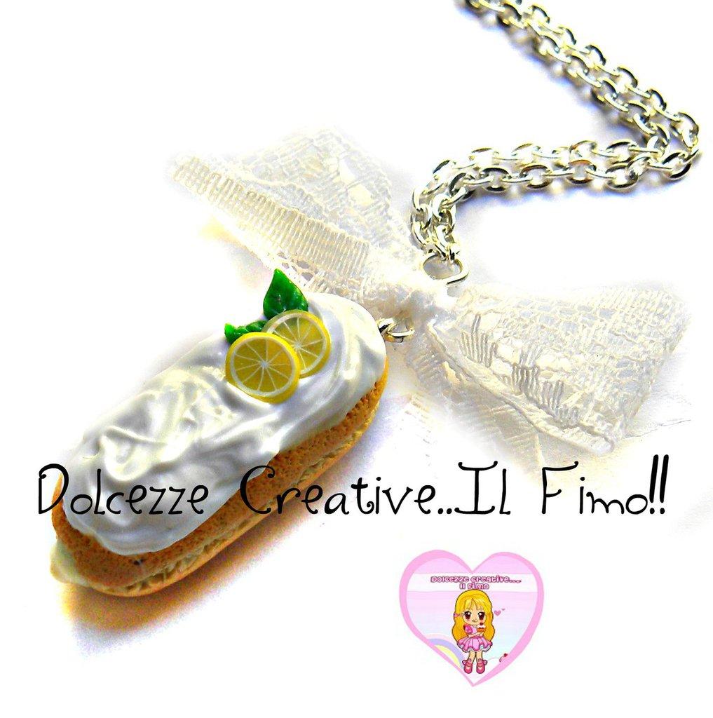 Collana Con bignè - Choux con glassa e ripieno di limone - miniature kawaii