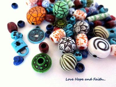 "LOTTO 50 gr perle in acrilico  ""Multicolor"" (cod.Summer)"