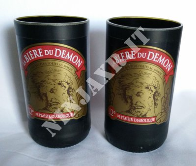 3 Bicchieri Tumbler Highball Birra Du Demon idea regalo riciclo creativo riuso arredo design