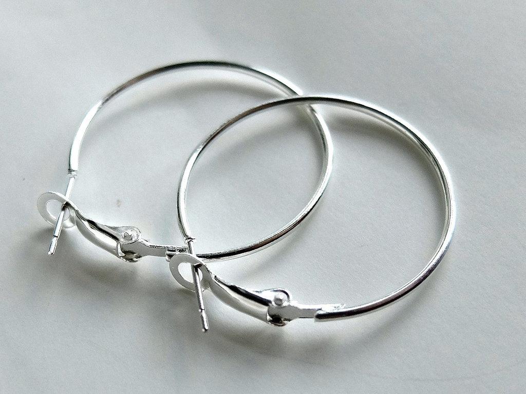 2 Cerchi per orecchini argentati 35 mm FER 24