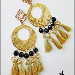 Maxi orecchini oro e nero GIPSY STYLE - ORO/NERO