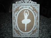 Cornice decorativa, quadretto shabby con juta e ballerina in gesso