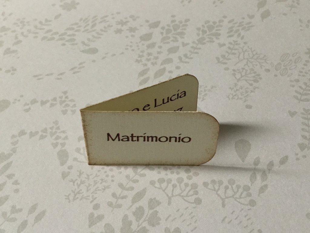 Bigliettini bomboniera matrimonio bianco o avorio con scritte
