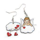 Orecchini angelo su nuvola e cuori kawaii shrink regalo ragazza donna