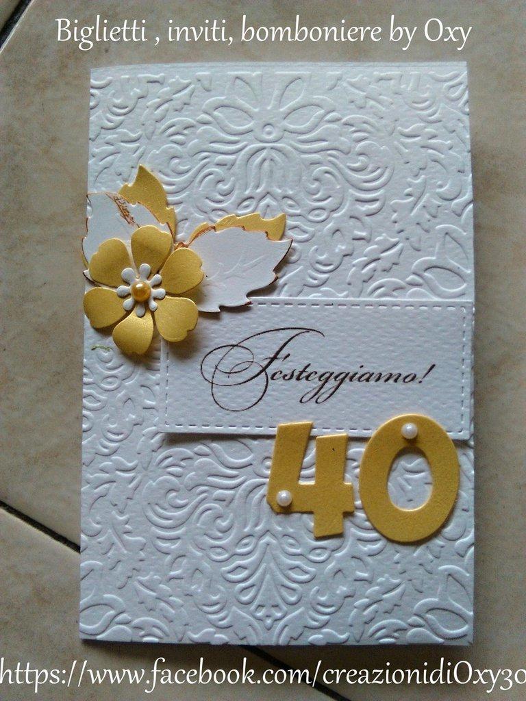 Invito / Compleanno / Anniversario / 40 anni / elegante / oro