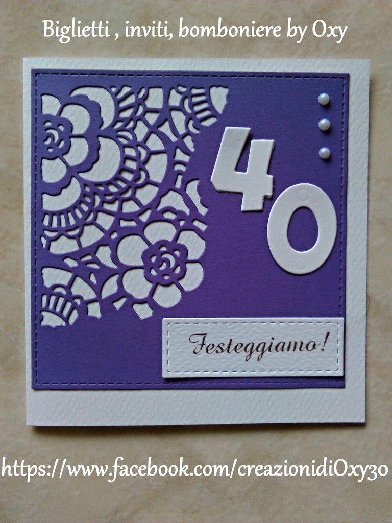 Extrêmement Invito / Compleanno / Anniversario / 40 anni / elegante / viola  DZ05