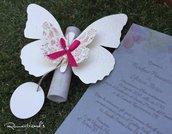 Partecipazione motivo Farfalla con etichetta per personalizzare by Romanticards
