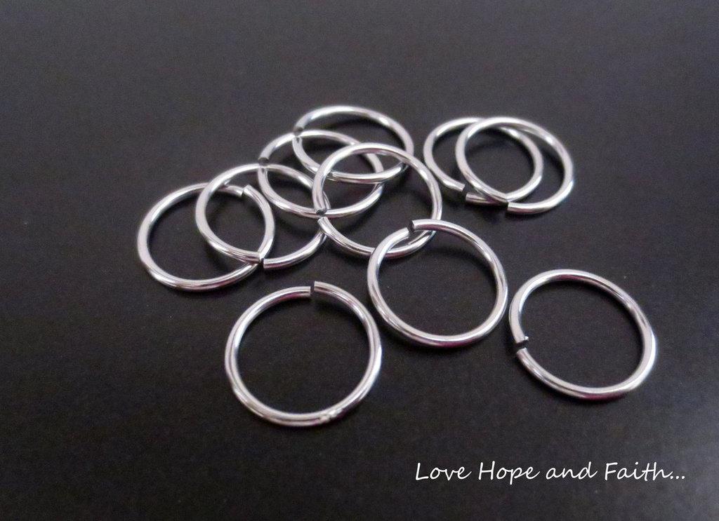 LOTTO 10 anellini  aperti acciaio inox (16x1,15mm) (cod. inox new)