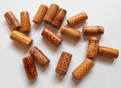 Lotto 60 perle cilindro legno